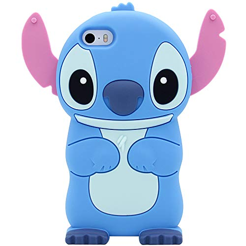 iPhone SE Case, Cute 3D MC Fashion American Cartoon Stitch Shockproof and Protective Silicone Phone Case for iPhone 5/5S/SE (Blue) (Iphone 5s Cases Disney)