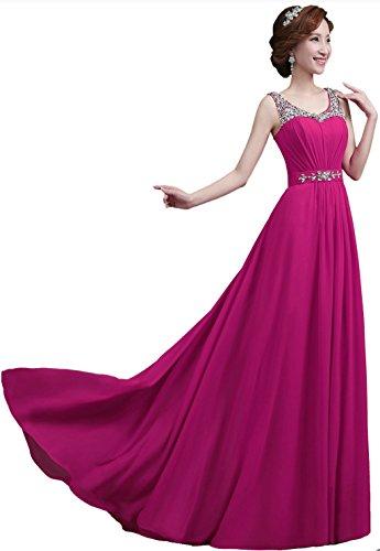 Vantexi Damen Chiffon Lange Perlen Formale Abendkleid Abschlussballkleider Rose s3r7FK
