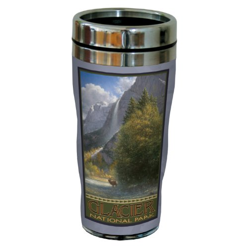 Tumbler Elk Ounce 16 - Tree-Free Greetings sg23055 Scenic Glacier National Park Vista with Elk by Jack Terry Stainless Steel Sip 'N Go Travel Tumbler, 16-Ounce, Multicolored