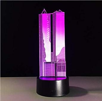 Edificio Alto Nocturna 3D Led Lámpara Lámpara Luz Colores 7 8nmwNv0