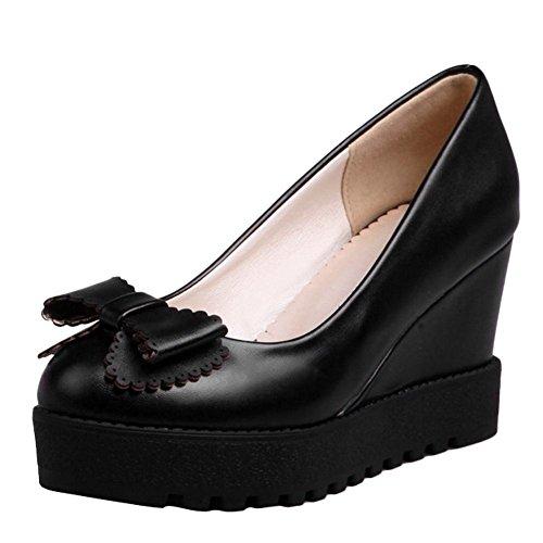 Charm Foot Womens Sweet Platform Wedge Bows High Heel Pump Shoes Black rxZOhBaSj