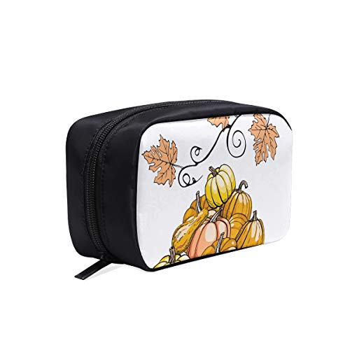 Hand-painted Pumpkin Painting Portable Travel Makeup Cosmetic Bags Organizer Multifunction Case Small Toiletry Bags For Women And Men Brushes Case