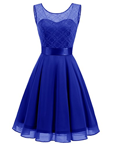 BeryLove Women's Short Floral Lace Bridesmaid Dress A-line Swing Party Dress BLP7005RoyalBlueL ()