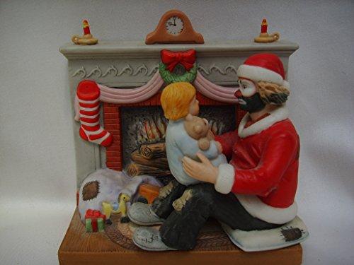 "Flambro Clown Collection Porcelain Vintage Figurine 5"" Collectible ; Emmett Kelly Jr. Spirit of Christmas II"