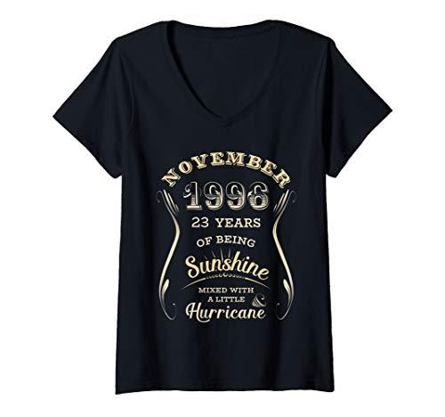 Womens November 1996 Vintage 23rd Birthday Ladies Gift 23 Years Old V-Neck T-Shirt