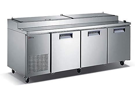 Vortex - Mesa de refrigeración comercial para pizza de 3 puertas ...