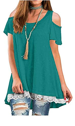 YIOIOIO Women's Cold Shoulder Tops Short Sleeve Lace Trim Loose Fit Flowy T-Shirt Dresses with Pockets (Trim Fit T-shirt)
