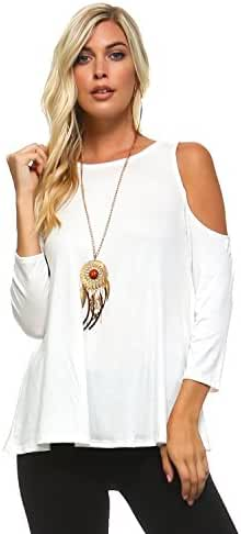 Isaac Liev Women's Open Cutout Cold Shoulder Short Sleeve Top - Made in USA