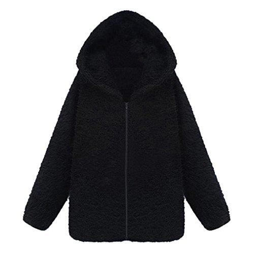 Odejoy Trendy Women Quality Pile Thick Plus Cappotto con cappuccio Pullover Sweater Cardigan Donna Cerniera Collo Giacca Giacche Abbottonato Parka Outwear Black