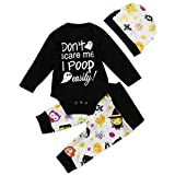 Sailor Moon Baby Clothes Best dad Baby Clothes 3month Baby boy Clothes 3PCS Halloween Kids Baby Letter Print Romper+Cartoon Print Pants+Hat Set Outfit Baby Apparel Stores Best Baby Onesies Baby boy