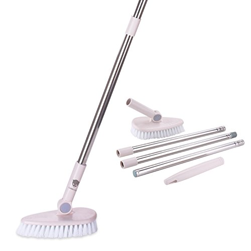 LostCat Floor Scrub Brush Removable Long Handle - /Tub/ Tile / Floor / Wall / Bathroom / Recesses and Grout Brush Scrubber with Stiff Bristle Lightweight Sturdy and Durable - Bristle Floor Brush