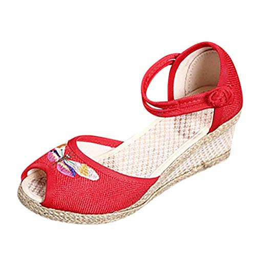Watere◕‿◕ Women Retro Linen Round Toe Sandals Wedge Shoes Solid Color Wedge Embroidered Flower Retro Wind Hemp Buckle ()