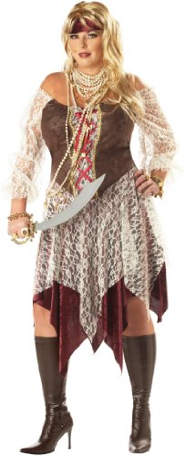 [California Costumes Women's Plus-Size South Seas Siren Plus, Brown/Cream, 1X] (Halloween Pirate Woman Costumes)