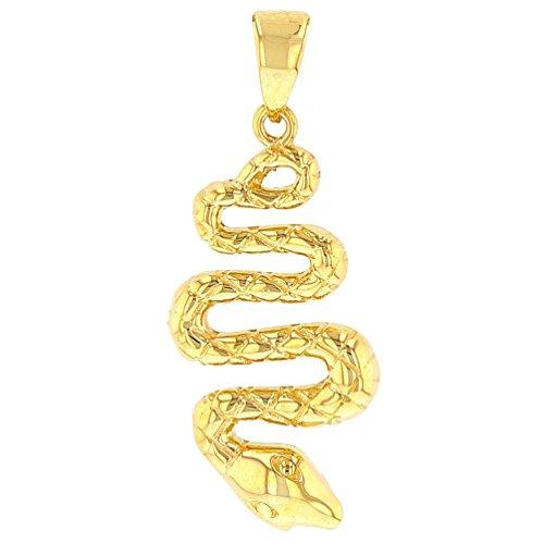 14K Yellow Gold Polished Snake Charm Animal Pendant