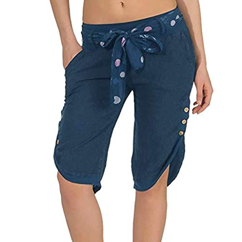 GLVSZ Women Elastic Waist Butt Lift Stretch Bermuda Shorts Plus Yoga Capris(Blue,XL)
