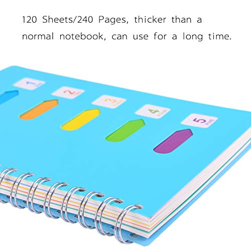 "Spiral Notebook, 5 Subject, Wide Ruled Paper, 120 Sheets, 8.3"" x 5.7"", Wirebound A5 writing Memo Diary Planner Journals for Travelers, Students and Office, Xyark by XYark (Image #5)"
