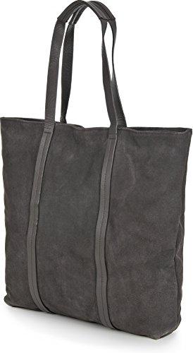 BECKSÖNDERGAARD, borse da donna, shopper, XXL-shopper, tote bag, borse, camoscio, antracite, 43 x 42,5 x 3,5 cm (L x A x P)