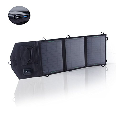 Price comparison product image SUNKINGDOM™ 19.5W 2-Port USB Solar Charger with Portable Foldable Solar Panel PowermaxIQ Technology for iPhone, iPad, iPod, Samsung, Camera, and More (Black)