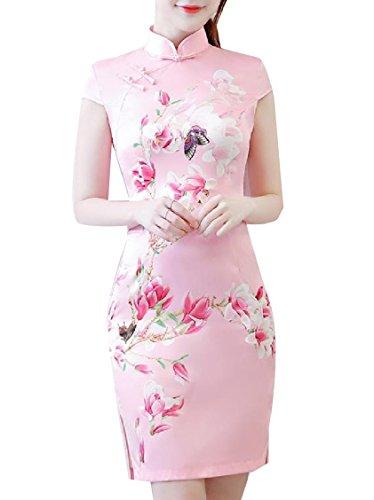 Coolred Collar Stand Women 5 Painting Split Cheongsam Dress Dress up Party rqOrxwta