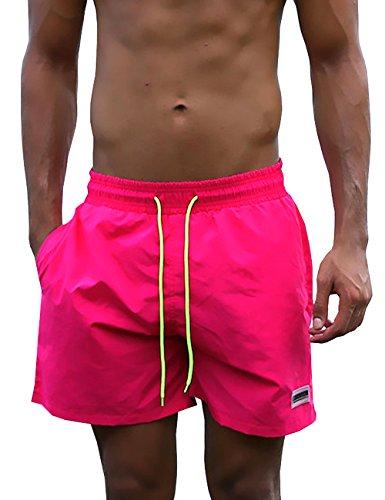 Men's Team Colors Boardshorts Swim Trunks (Rose Pink,XL)