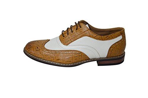 Scarpe Da Uomo Classiche Bicolore Oxford Wingtip Classiche C03-tan / Bianco