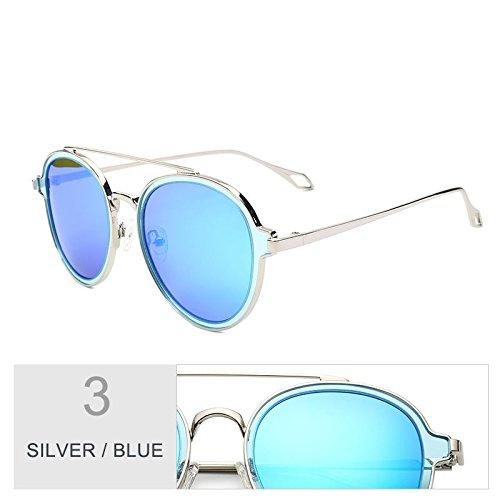Para TIANLIANG04 Para Negro Blue Redonda Gafas Sol Polarizadas Que Puentes De Gris Mujer Lentes De Silver Uv400 Caminan Gafas Eyewear Mujeres Perfecta De Sol Dobles Ar16vA