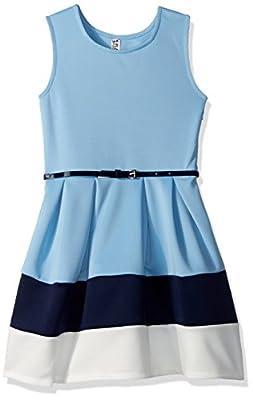 Beautees Big Girls' Sl/Less Colorblock Skater Dress