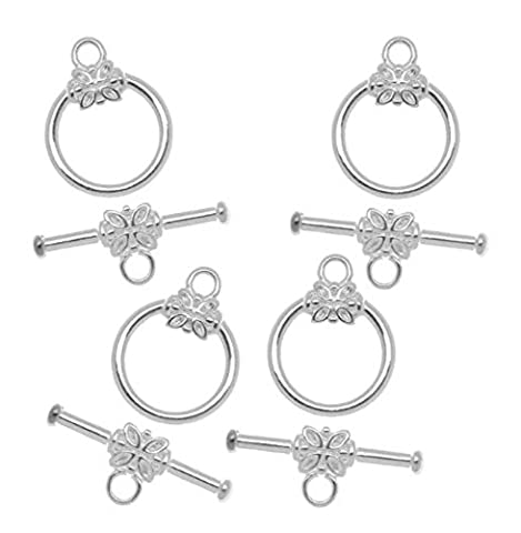 5 Sets x Top Quality Flower Round Toggle Clasps, 15mm, Sterling Silver Plated, CF183 - Garnet Set Brooch