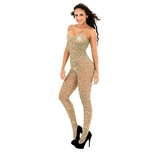 DRASEX Women's Sexy Leopard Open Crotch Bodysuit Crotchless Bodystocking Lingerie Tights Pantyhose