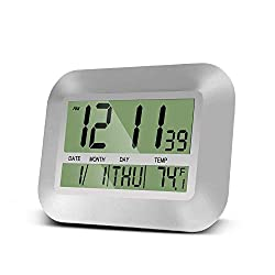 HeQiao Digital Wall Clock for Home Office (Elegant Silver)