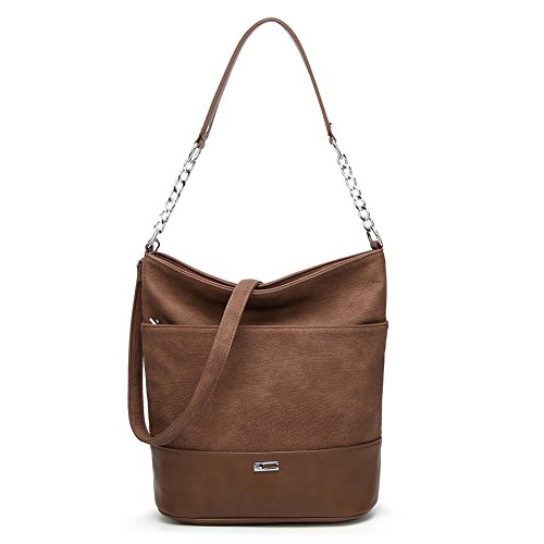 Hobo Bags for Women, Joda PU Leather Lady's Shoulder Bag Purse Classic Tote Handbags Messenger Bag Purse Handle Satchel Brown