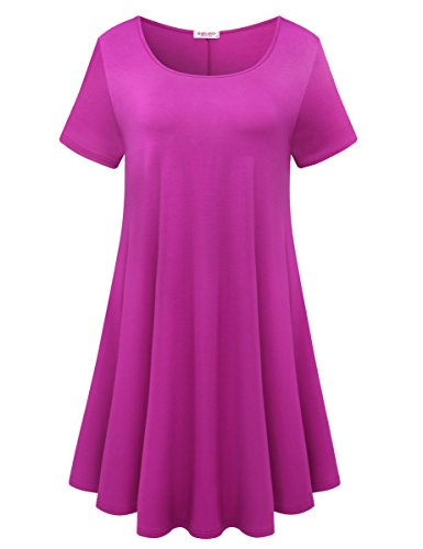 BELAROI Womens Comfy Swing Tunic Short Sleeve Solid T-Shirt Dress (2X, -