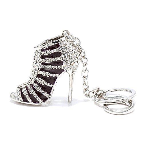 Axmerdal Black High Heels Keychain Rhinestone Crystal Lady's Shoe Decoration Chain Handbag Charm Silver-Tone Pendant Gift from Axmerdal