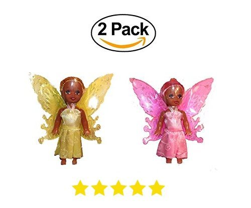 2 Fairy Doll Poupee Wings Black African American. Add to Barbie Dreamtopia. Birthday 2018. Kids Toddler Baby Play Toy -Colors Varies by Fairy World
