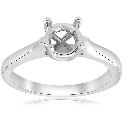 14K White Gold Cathedral Solitaire Mount Engagement Ring Setting - Size 7.5