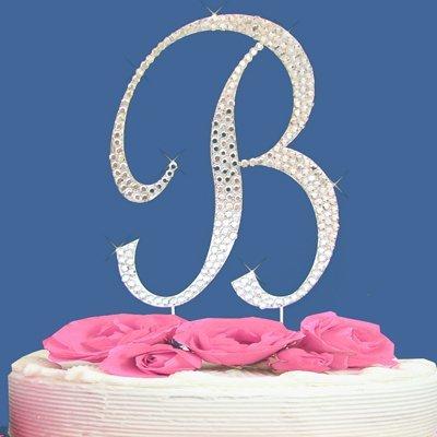 fully covered in crystal monogram wedding cake topper letter letter b