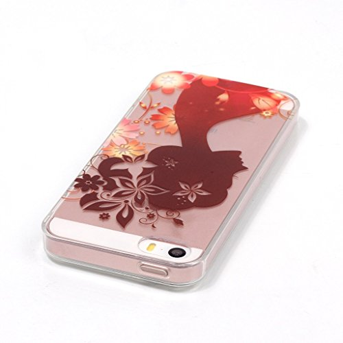 Uming® Transparent Lady Bloom Blume Retro bunte Muster Druck weiche TPU Fall Abdeckung Hülle Case Cover ( Woman - für IPhone 6 6S IPhone6S IPhone6 ) Silicone Silikon Shell Schutz Handy-Fall Cellphone
