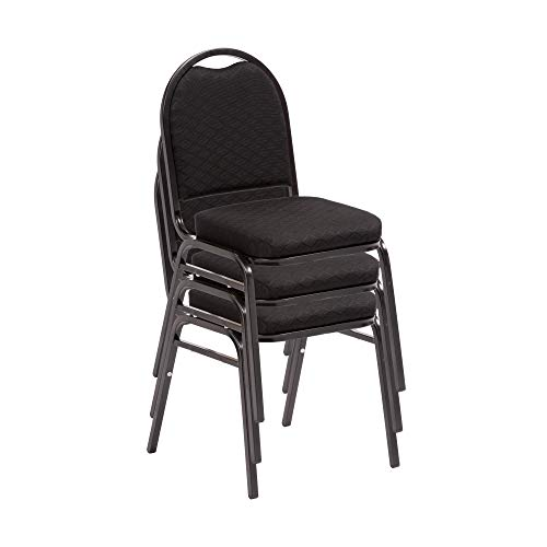 Norwood Commercial Furniture 250 Series Stack Chairs, Black Fabric/Black Frame, NCFDSC2BLBLF (Pack of 3)
