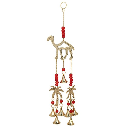 Krazzy-bells Camel & Coconut Tree Chime With Polished Brass Bells About 15 Inch String ()