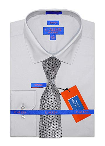 Slim Fit Dress Shirts, Stretch Fabric, Convertible Cuffs with Slim Diamond Pattern Tie Silver