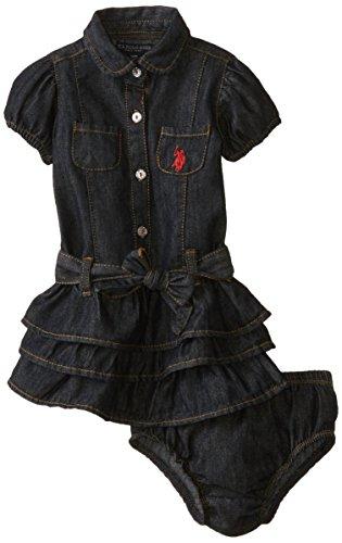 U.S. Polo Assn. Baby Girls' Denim Tiered Ruffle Dress, Blue, 12 Months