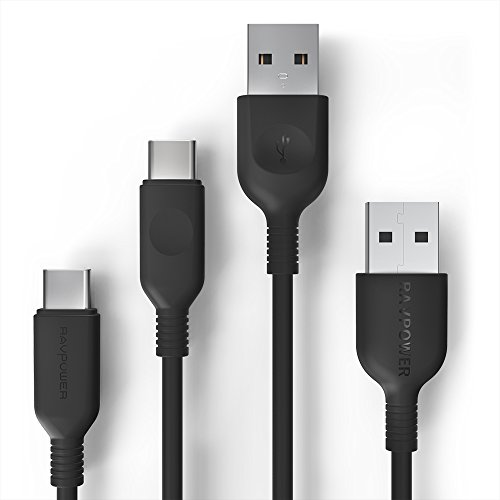 USB Type C Cable, RAVPower USB A to USB C Charger (3ft, 6ft), 2 Pack Fast Charging Cord Compatible Galaxy S9 S8 Plus Note 8, Google Pixel, LG V30 G6 G5, Nintendo Switch, OnePlus 5 3T and More (Black)