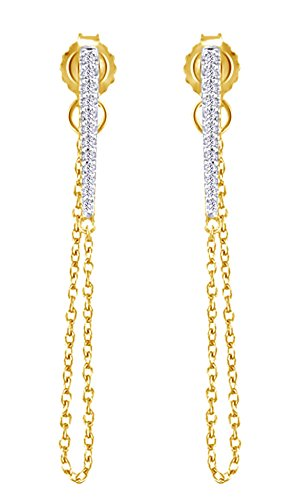 14k Yg Dangle - Round Cut White Diamond (0.08 Cttw) Triangle Dangle Earrings In 14K Yellow Gold Over Sterling Silver
