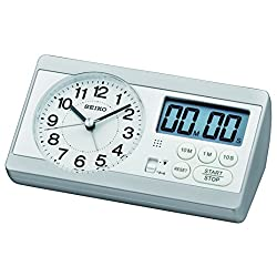 Seiko Silver Sweeping Clock with Stopwatch & Countdown Timer Function- QHE152S