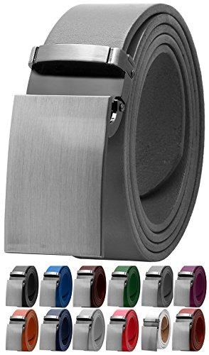 Falari Men's Dress Belt Jeans Belt Genuine Leather 9026-GREY-S32 (Grey Belt Buckle)