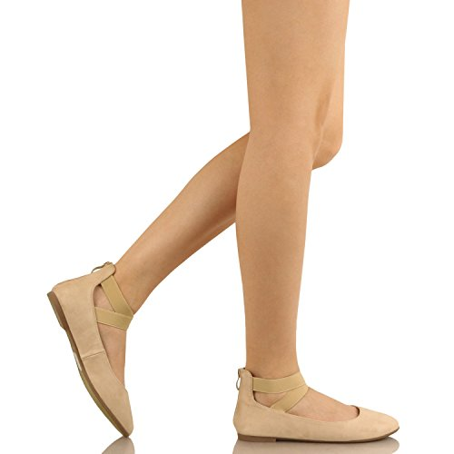 Guilty Schuhe Damen Classic Comfort Elastic Crossing Straps - Stretchy Ballerina Ballerinas Schuhe Beige Wildleder