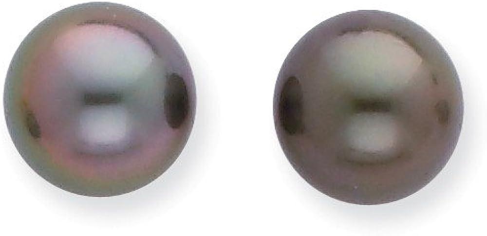 Pendientes de tuerca de oro blanco de 14 quilates de 8 a 9 mm con perlas de Tahití cultivadas en agua salada