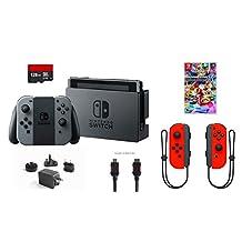 Nintendo Switch 6 items Bundle:Nintendo Switch 32GB Console Gray Joy-con,128GB Micro SD Card Nintendo Joy-Con (L/R) Wireless Controllers Neon Red,Mario Kart 8 Deluxe Mytrix HDMI(US Version, Imported)