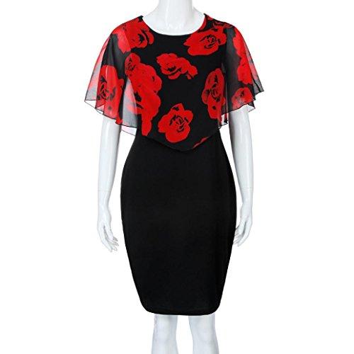 Damen Plus Size Rose Print Chiffon OAusschnitt Rüschen Minikleid ...