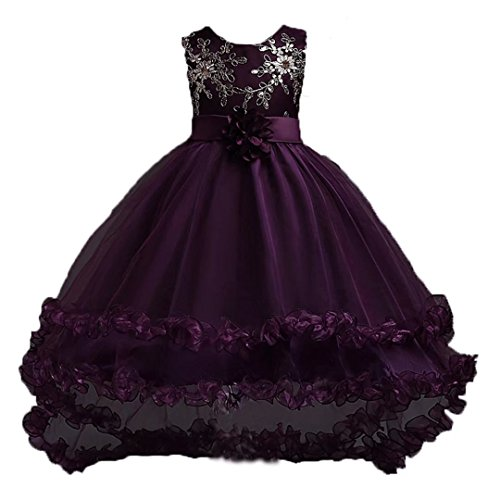 leeveless Chiffon Long Tail Wedding Tutu Flower Dress(Dark Purple,5-6Y) (Dark Purple Tutu)